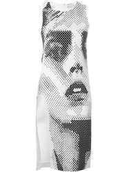 Anthony Vaccarello Side Slit Printed Fitted Dress White