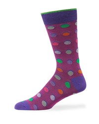 Duchamp Multicolor Polka Dot Cotton Socks Purple