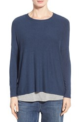 Women's Eileen Fisher Ballet Neck Boxy Sweater Blue Bonnet