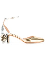 Casadei Chain Detail Mary Jane Pumps Women Calf Leather Leather Kid Leather Metal 36.5 Metallic