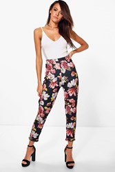 Boohoo Lottie Winter Floral Skinny Stretch Trousers Black