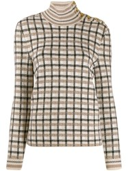 Paco Rabanne Check Roll Neck Jumper Neutrals