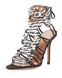 Alexa Wagner Christy Zebra Print Watersnake High Heel Gladiator Sandal 37.5B 7.5B