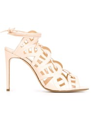 Bionda Castana Laser Cut Tie Sandals Nude And Neutrals