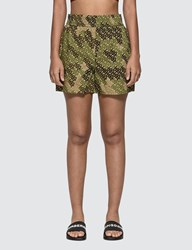 Burberry Monogram Print Cotton Poplin Shorts Green