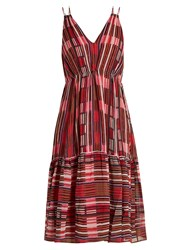 Apiece Apart Daphne Borderlines Print Silk Dress Red Multi