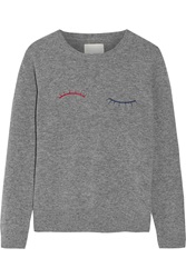 Band Of Outsiders Embroidered Wool Sweater Gray