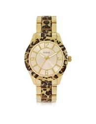 Guess Goddess Animal Print And Golden Stainless Steel Women's Watch