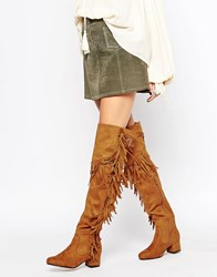 Truffle Collection Luan Fringe Block Heeled Over The Knee Boots Tan
