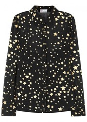 Red Valentino Star Print Silk Chiffon Blouse Black