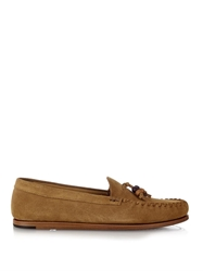 Saint Laurent Beaded Tassel Suede Moccasin Loafers