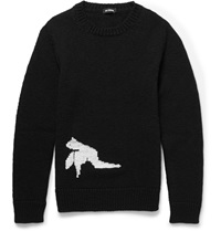 Raf Simons Bird Intarsia Wool Sweater Black