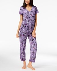 Inc International Concepts I.N.C. Lace Trim V Back Pajama Set Tossed Morning Glory