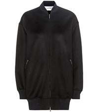 Valentino Wool And Cashmere Bomber Jacket Black