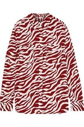 Iris And Ink Woman Zebra Print Washed Crepe Shirt Red