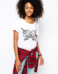 Monki Unicorn T Shirt White