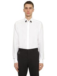 Dolce And Gabbana Cotton Poplin Shirt W Embroidery White