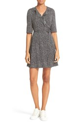 Diane Von Furstenberg Women's Savilla Print Silk Ruffle Neck Wrap Dress