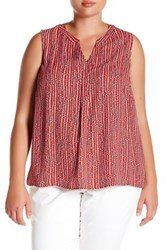 Nine West Printed V Neck Sleeveless Blouse Plus Size Multi