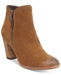 Cole Haan Hayes Booties Women's Shoes Chestnut Distressed Suede