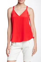 Amanda Uprichard Bow Back Silk Cami Red