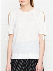 Whistles Tie Cuff Cold Shoulder Linen Top White