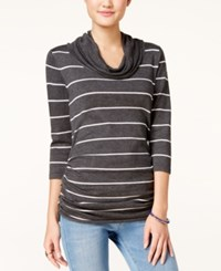 Pink Rose Juniors' Striped Cowl Neck Fine Gauge Sweater Heather Charcoal White