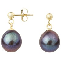 A B Davis 9Ct Gold Freshwater Pearl Drop Earrings Black