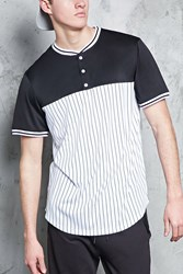 Forever 21 Contrast Striped Baseball Jersey White Black