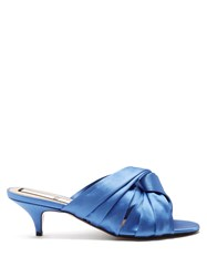 N 21 Twist Front Open Toe Satin Mules Blue