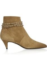 Saint Laurent Cat Studded Suede Ankle Boots Brown