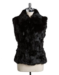 Surell Rabbit Fur Vest Black