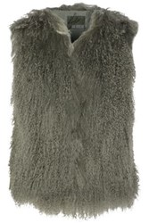 Karl Donoghue Shearling Vest Grey Green