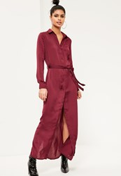 Missguided Burgundy Satin Maxi Shirt Dress Red