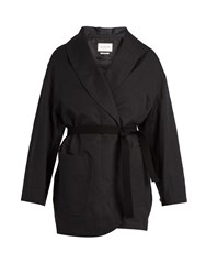Etoile Isabel Marant Ilona Tie Waist Cotton And Linen Blend Coat Black
