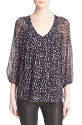Women's Diane Von Furstenberg 'Davi' Silk Peasant Top Animal Paint Tiny Black