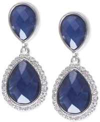 Jones New York Silver Tone Faceted Teardrop Double Drop Clip On Earrings Indicolite