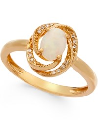 Macy's Opal 3 8 Ct. T.W. And Diamond Accent Ring In 14K Gold Over Sterling Silver