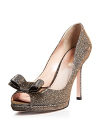 Kate Spade New York Platform Pumps Felisha Metallic Open Toe Bronze
