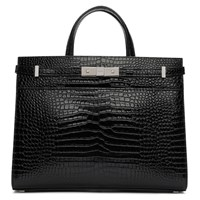 Saint Laurent Black Small Croc Manhattan Tote