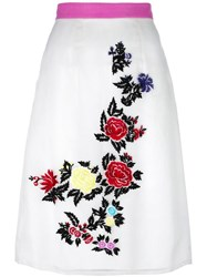 House Of Holland Rose Embroidery Straight Skirt White