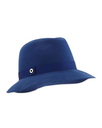 Loro Piana Ingrid Velvet Felt Fedora Hat Sea Blue
