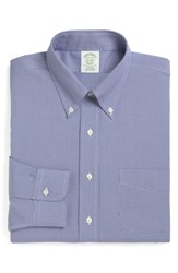 Brooks Brothers Big And Tall Trim Fit Houndstooth Dress Shirt Blue