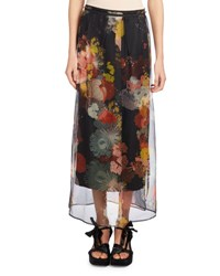 Dries Van Noten Schiller Floral Print Maxi Skirt Black