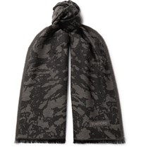 Tom Ford Fringed Camouflage Print Wool Scarf Gray
