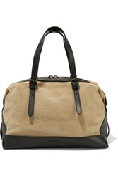 Tomas Maier Textured Leather And Suede Tote Ecru