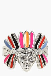 Boohoo Feather Headdress Navajo Boho Ring Silver