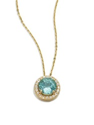 Suzanne Kalan Apatite White Sapphire And 14K Yellow Gold Round Pendant Necklace