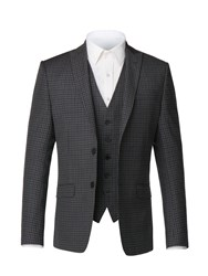 Limehaus Men's Ethan Charcoal Gingham Jacket Charcoal
