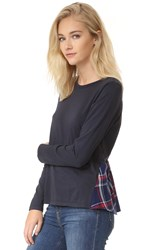 Clu Too Ruffle Back Mix Media Top Navy